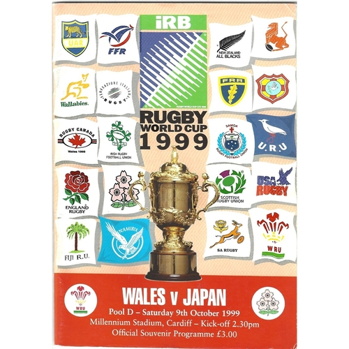 1999 Wales v Japan Rugby World Cup Pool Game Rugby Union Programme