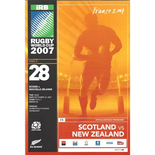 2007 Scotland v New Zealand Rugby World Cup Pool Game Rugby Union Programme