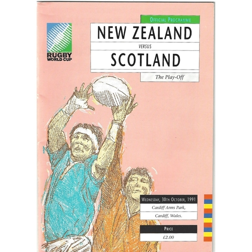 1991 New Zealand v Scotland Rugby World Cup Play Off Rugby Union Programme