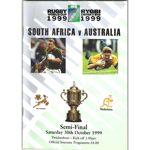 1999 South Africa v Australia Rugby World Cup Semi Final Rugby Union Programme