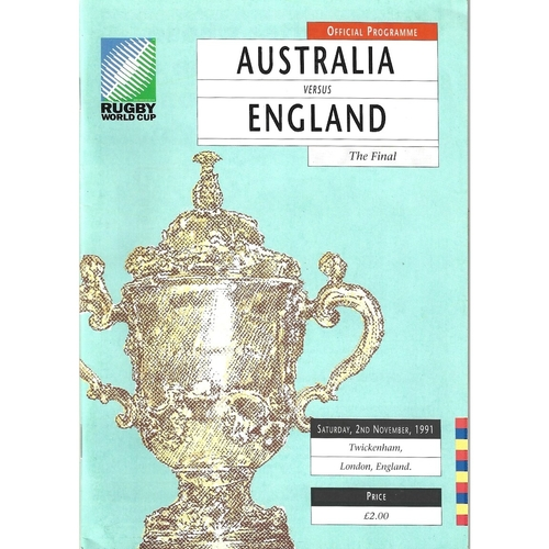 1991 Australia v England Rugby World Cup Final Rugby Union Programme