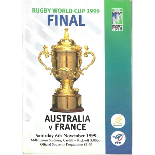 1999 Australia v France Rugby World Cup Final Rugby Union Programme