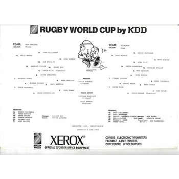 1987 New Zealand v Scotland Rugby World Cup Quarter Final Rugby Union Teamsheet