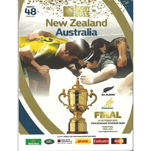 2015 New Zealand v Australia Rugby World Cup Final Rugby Union Programme