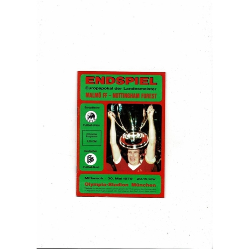 1979 Malmo v Nottingham Forest European Cup Final Football Programme Red Cover