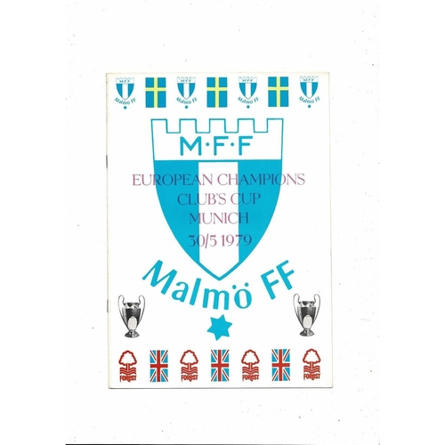 1979 Malmo v Nottingham Forest European Cup Final Programme Malmo Edition