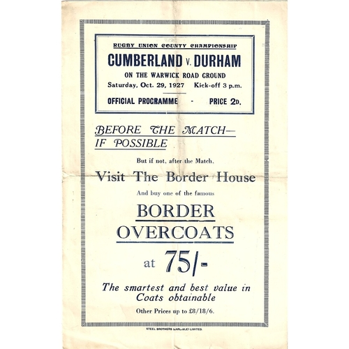 1927/28 Cumberland v Durham County Championship Rugby Union programme