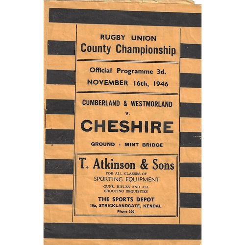 1946/47 Cumberland & Westmoreland v Cheshire County Championship Rugby Union programme