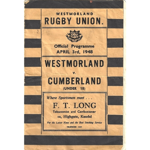 1947/48 Westmoreland v Cumberland (Under 18) County Rugby Union programme
