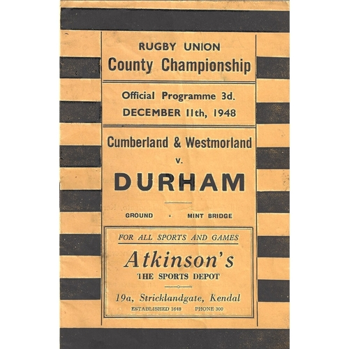 1948/49 Cumberland & Westmoreland v Durham County Championship Rugby Union programme
