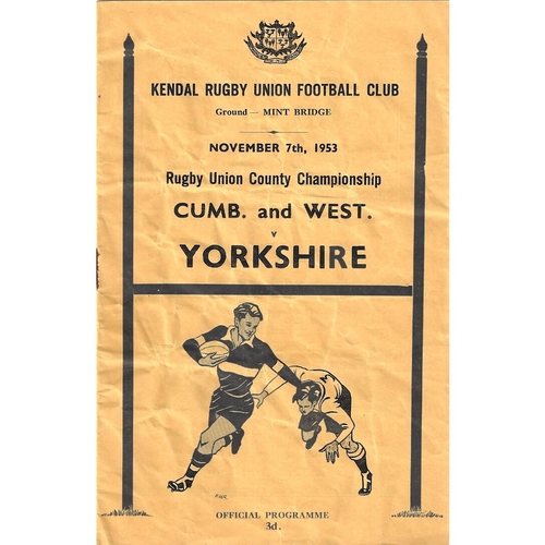 1953/54 Cumberland & Westmoreland v Yorkshire County Championship Rugby Union programme