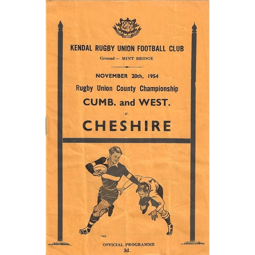 1954/55 Cumberland & Westmoreland v Cheshire County Championship Rugby Union programme