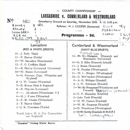 1950/51 Lancashire v Cumberland & Westmoreland County Championship Rugby Union programme