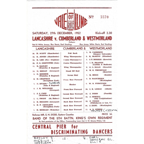 1952/53 Lancashire v Cumberland & Westmoreland County Championship Rugby Union programme