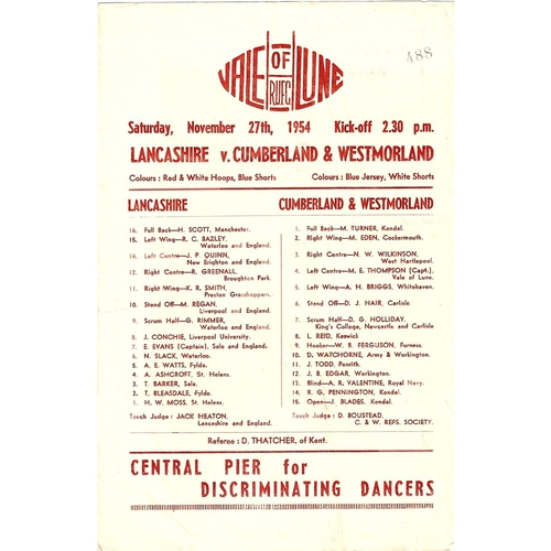 1954/55 Lancashire v Cumberland & Westmoreland County Championship Rugby Union programme