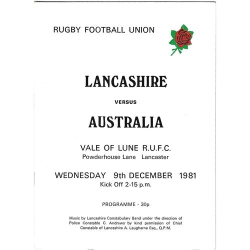 1981/82 Lancashire v Australia Tour Match Rugby Union programme
