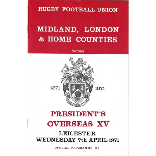 1971/72 Midland, London & Home Counties v President's Overseas XV Centenary 1871-1971 Rugby Union Programme