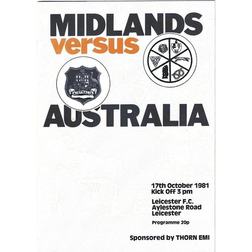 1981/82 Midlands v Australia Tour Match Rugby Union programme
