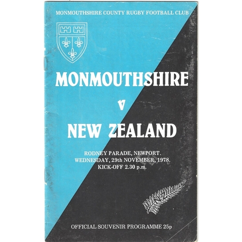 1978/79 Monmouthshire V New Zealand Tour Match Rugby Union programme