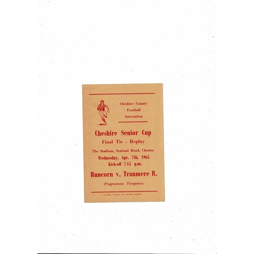 1964/65 Runcorn v Tranmere Cheshire Senior Cup Final Replay Football Programme