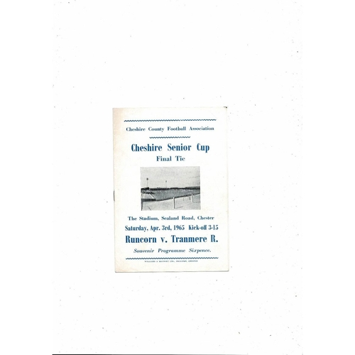 1964/65 Runcorn v Tranmere Rovers Cheshire Senior Cup Final Football Programme