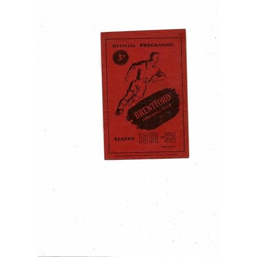 1951/52 Brentford v Barnsley Football Programme
