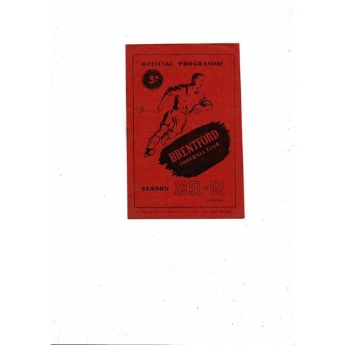 1951/52 Brentford v Sheffield United Football Programme