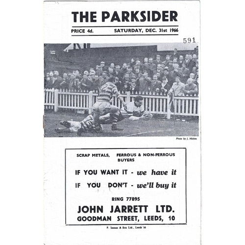 1966/67 Hunslet v Keighley Rugby League programme