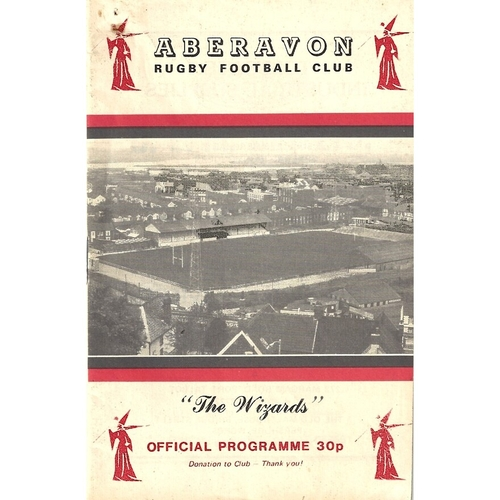 1987/88 Aberavon v Neath Rugby Union Programme