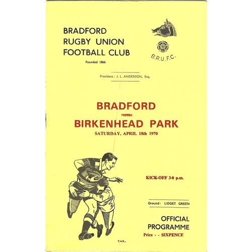 1969/1970 Bradford v Birkenhead Park Rugby Union Programme