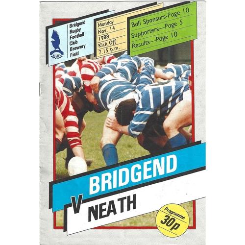 Bridgend Home Rugby Union Programmes