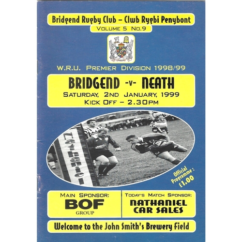 1998/99 Bridgend v Neath Rugby Union Programme