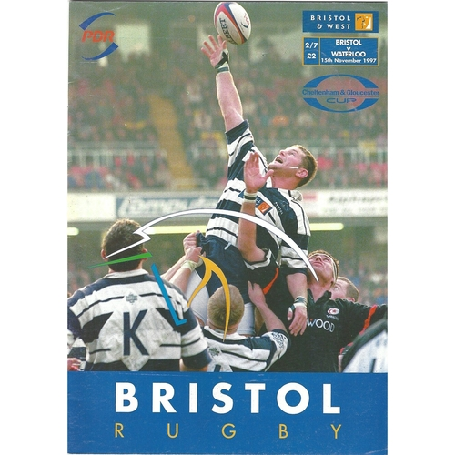 1997/98 Bristol v Waterloo Rugby Union Programme