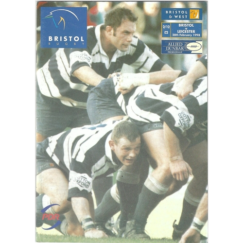 1997/98 Bristol v Leicester Rugby Union Programme