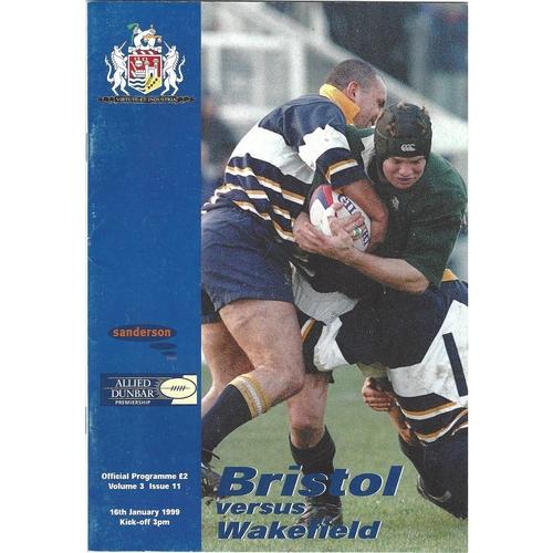 1998/99 Bristol v Wakefield Rugby Union Programme