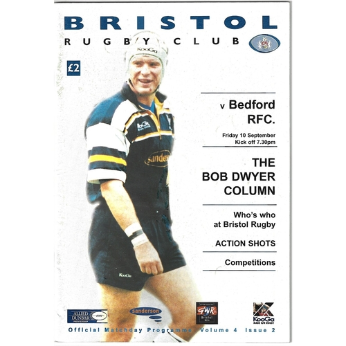 1999/00 Bristol v Bedford Rugby Union Programme