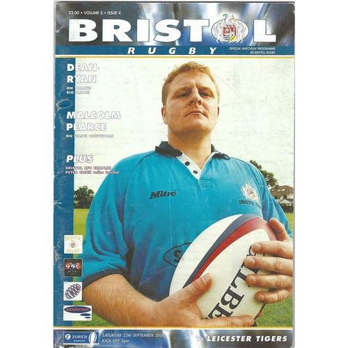 2000/01 Bristol v Leicester Tigers Rugby Union Programme
