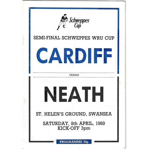 1988/89 Cardiff v Neath WRU Challenge Cup Semi Final Rugby Union Programme