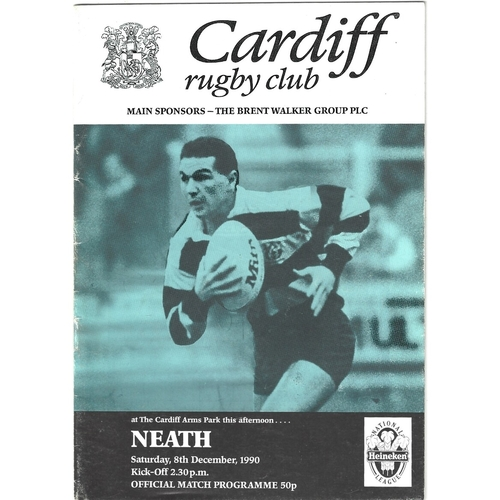 1990/91 Cardiff v Neath Rugby Union Programme
