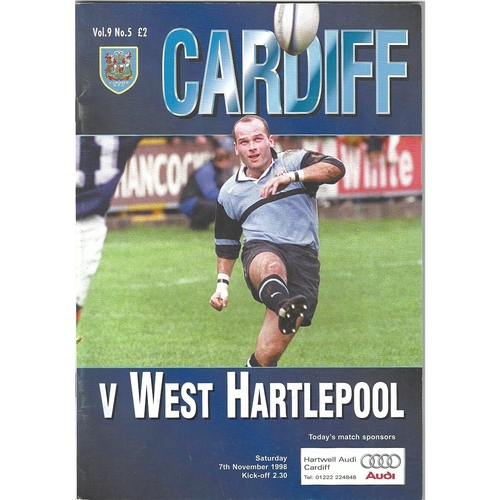 1998/99 Cardiff v West Hartlepool Rugby Union Programme