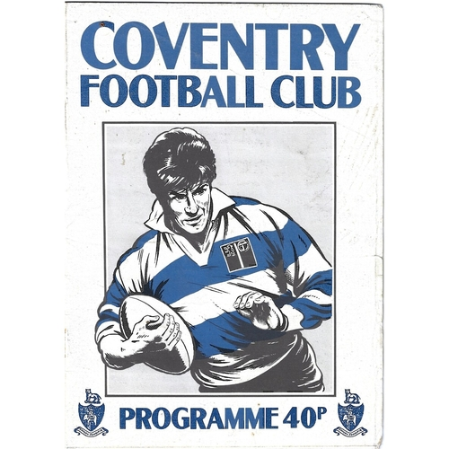 1987/88 Coventry v Neath Rugby Union Programme