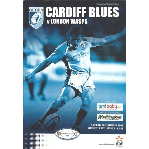 2006/07 Cardiff Blues v London Wasps Rugby Union programme