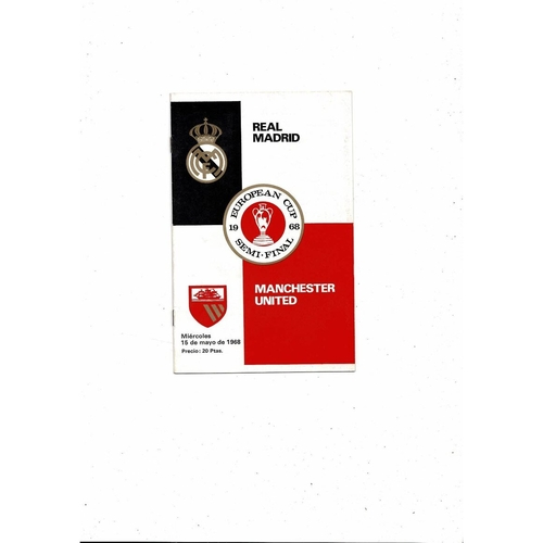 1967/68 Real Madrid v Manchester United European Cup Semi Final Football Programme