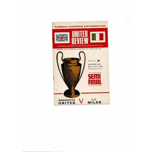 1968/69 Manchester United v AC Milan European Cup Semi Final Football Programme