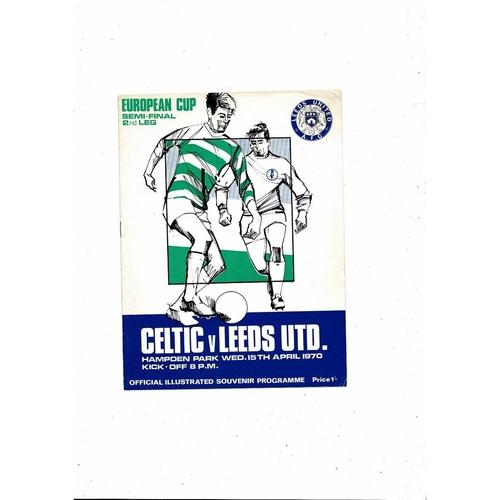 1969/70 Celtic v Leeds United European Cup Semi Final Football Programme