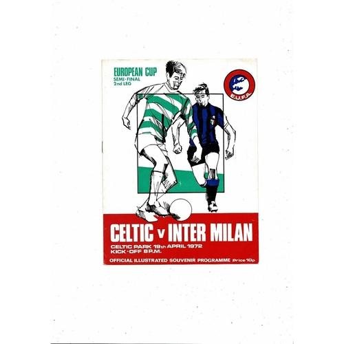 1971/72 Celtic v Inter Milan European Cup Semi Final Football Programme