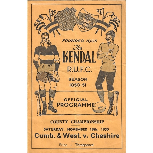 1950/51 Cumberland & Westmoreland v Cheshire County Championship Rugby Union programme