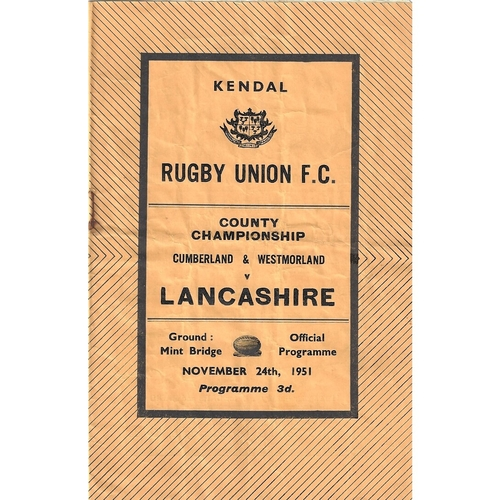 1951/52 Cumberland & Westmoreland v Lancashire County Championship Rugby Union Programme