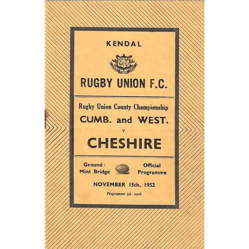 1952/53 Cumberland & Westmoreland v Cheshire County Championship Rugby Union Programme