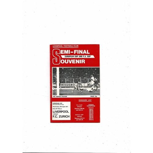 1976/77 Liverpool v Zurich European Cup Semi Final Football Programme